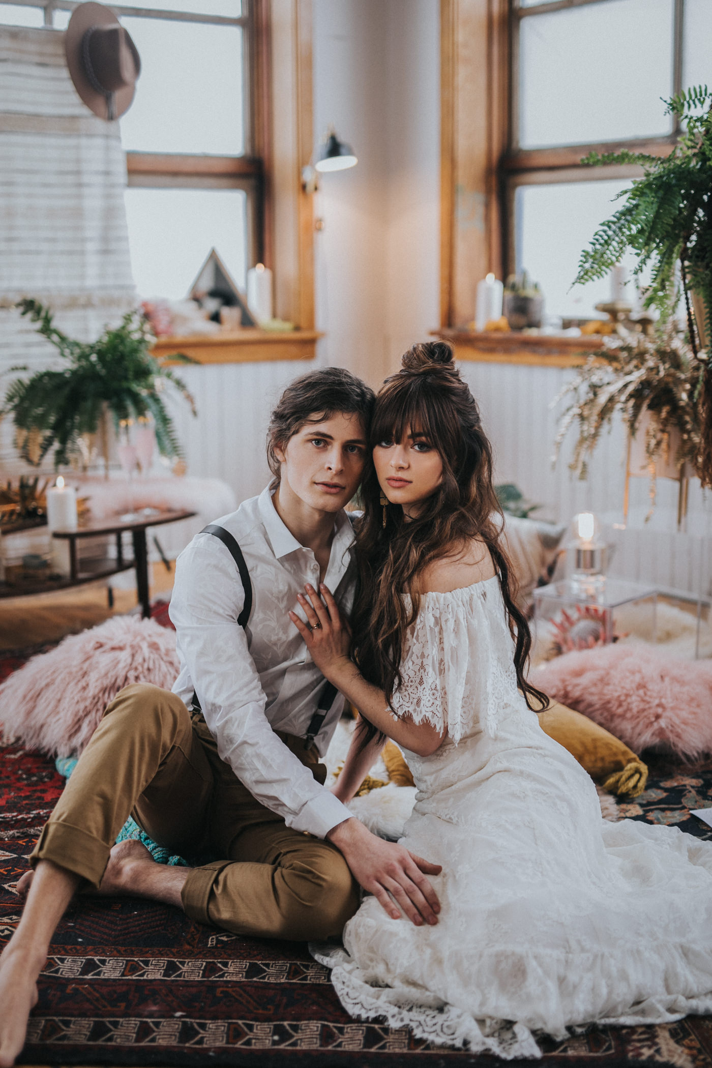 Green Wedding Shoes Feature Bohemian Indoor Elopement